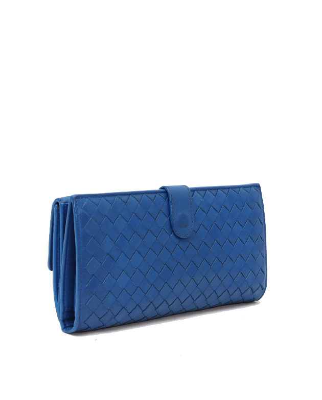 Bottega Veneta Navy Blue Nappa Leather Intrecciato Clutch Wallet