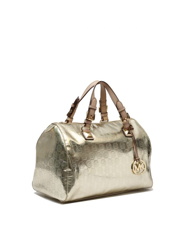 MIRROR METALLIC MK LARGE BOSTON BAG