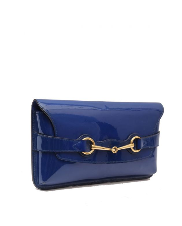 GUCCI BLUE PATENT HORSEBIT ENVELOPE CLUTCH