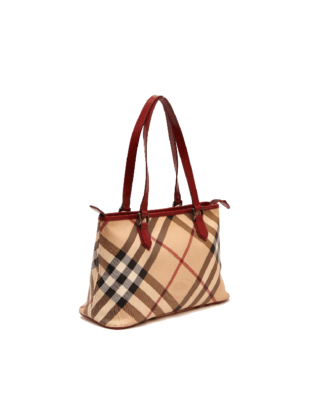 BURBERRY NOVA CHECK HOBO BAG WITH RED TRIMMINGS