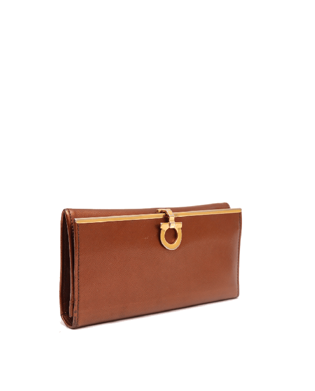 SALVATORE FERRAGAMO BRONZE LEATHER WALLET