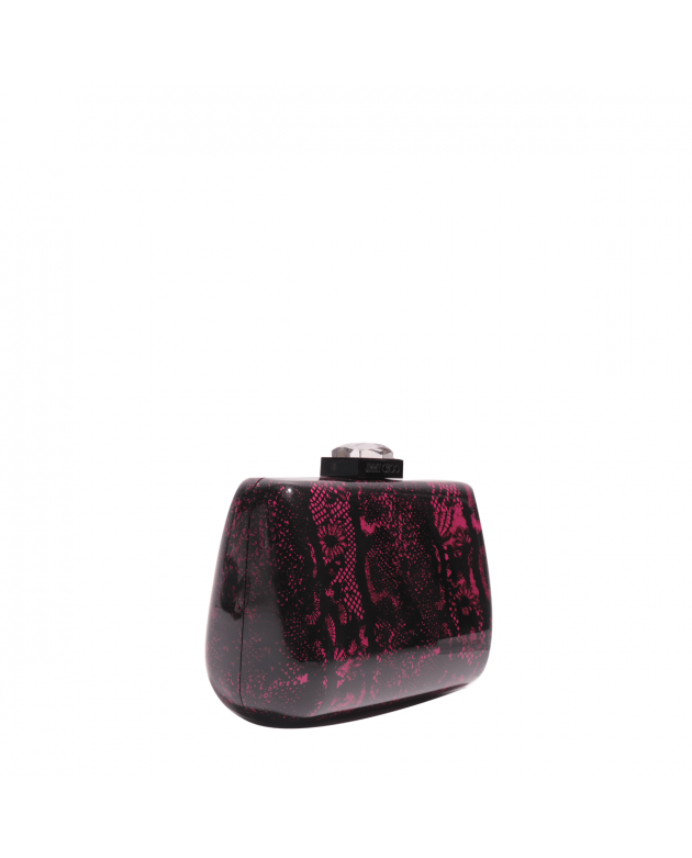 Lana Lace Print Pink Black Multicolor Acrylic Clutch