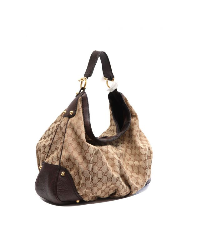 GUCCI MONOGRAM CANVAS HOBO BAG