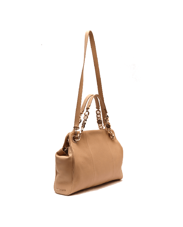 BVLGARI Monete Chain 2WAY Beige Shoulder Bag