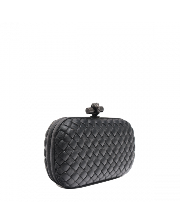 BLACK INTRECCIATO TEXTURED LEATHER KNOT CLUTCH