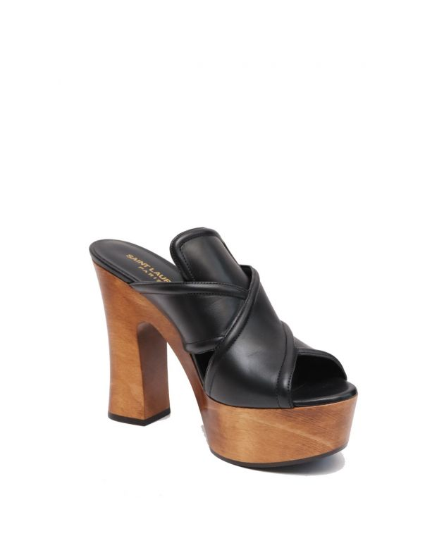 Saint Laurent Candy Wooden Platform Sandal, Noir