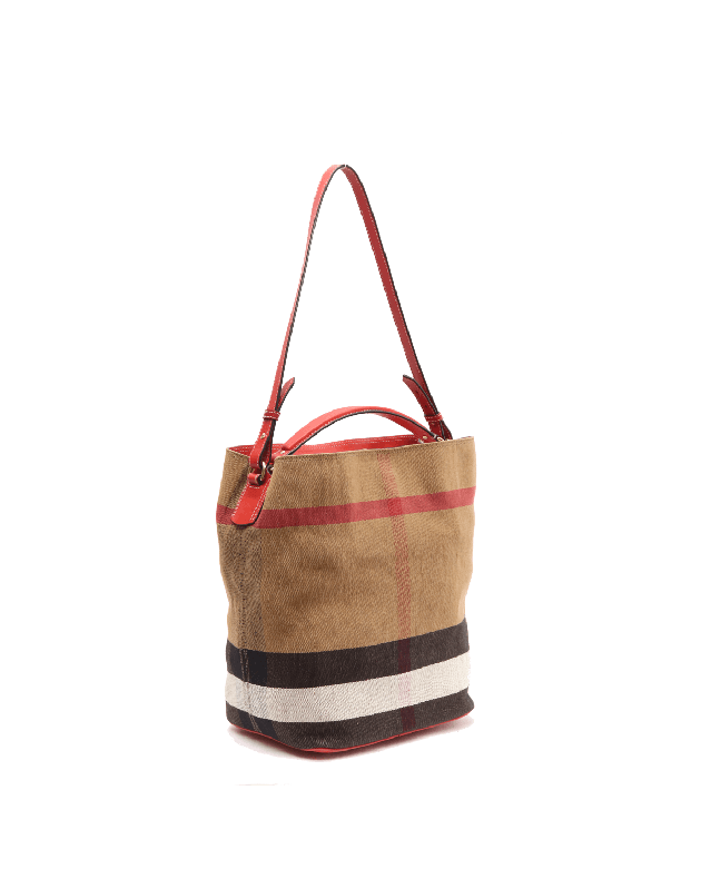 Burberry Ashby Cadmium Red Canvas Check Tote