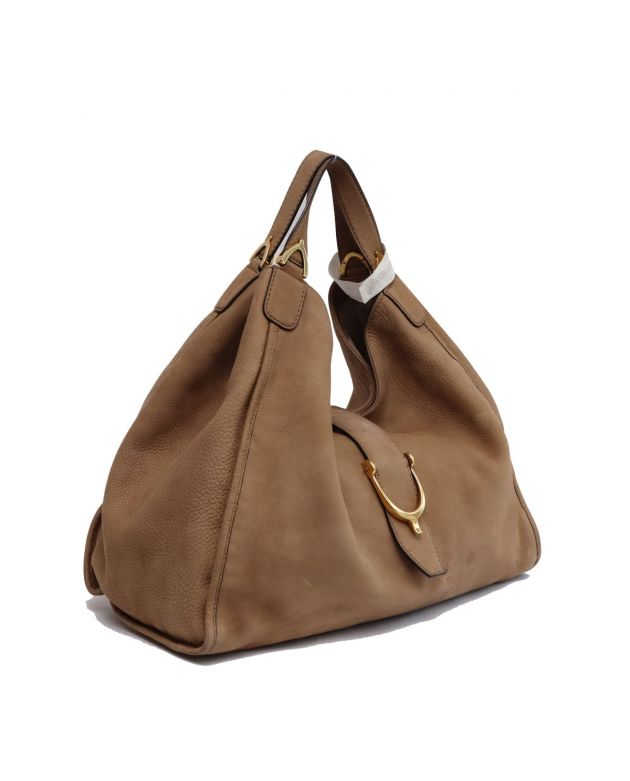 GUCCI BEIGE SUEDE LEATHER HOBO BAG