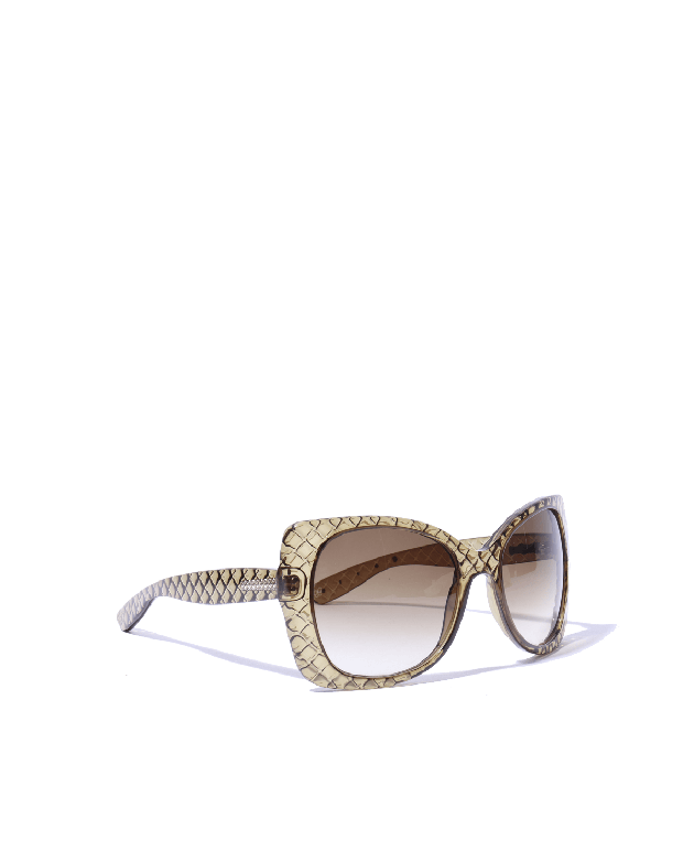 Bottega Veneta Olive Green intrecciato Wrap Sunglasses