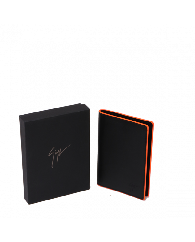 GIUSEPPE ZANOTTI BLACK LEATHER PASSPORT HOLDER