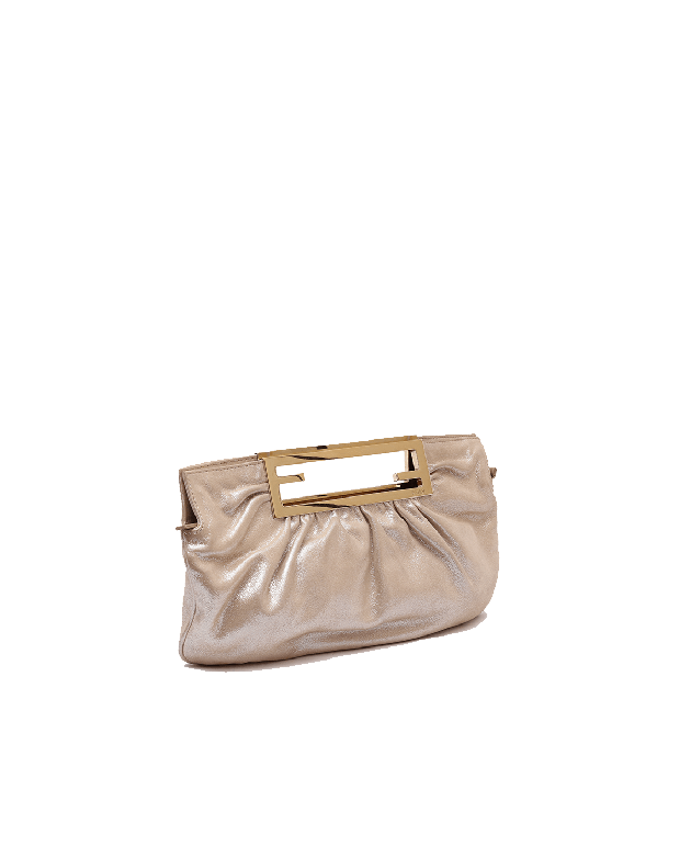 Fendi Cutout Handle Metallic Leather Clutch