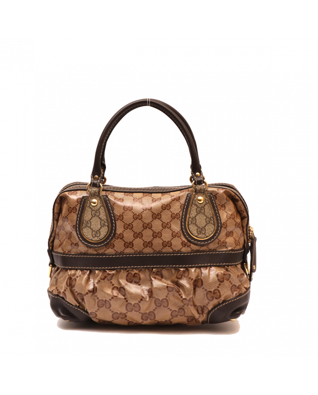 GUCCI BROWN COATED CANVAS MONOGRAM CRYSTAL MIX TOTE