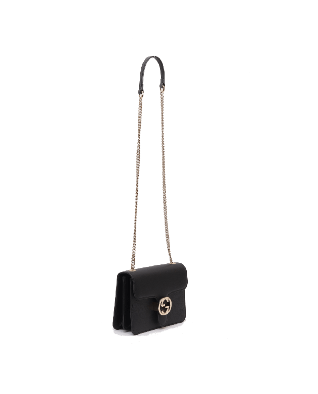 Gucci interlocking GG leather cross body bag in black