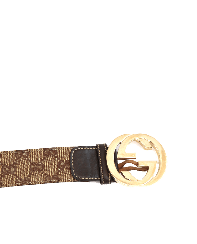 GUCCI BROWN MONOGRAM GG BUCKLE BELT