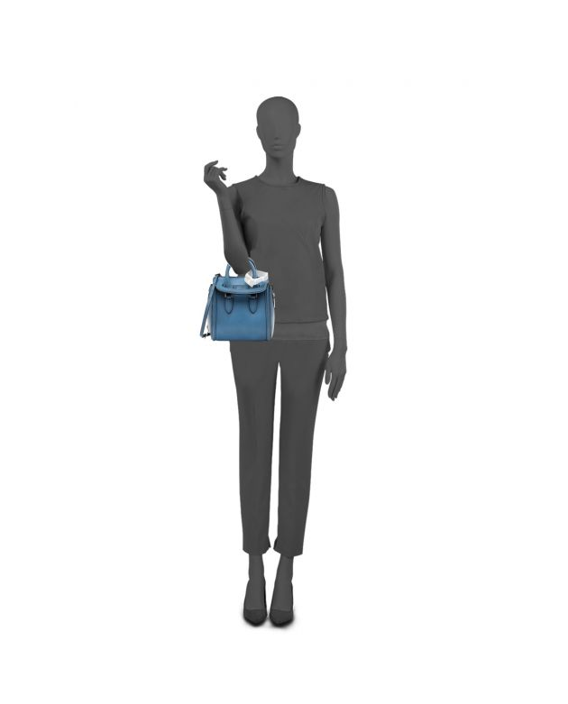 BLUE LEATHER SMALL HEROINE TOTE