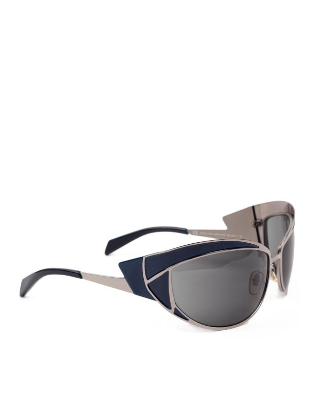 Alexander Mcqueen Blue Ruthenium Butterfly Sunglasses