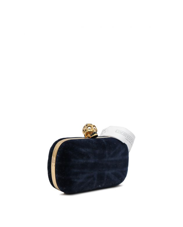 Britannia Skull Box Clutch Blue Velvet Small