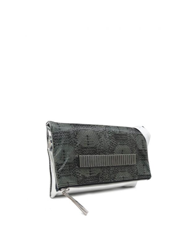 Dark Green & Silver Lo-Fi Fold Leather Clutch