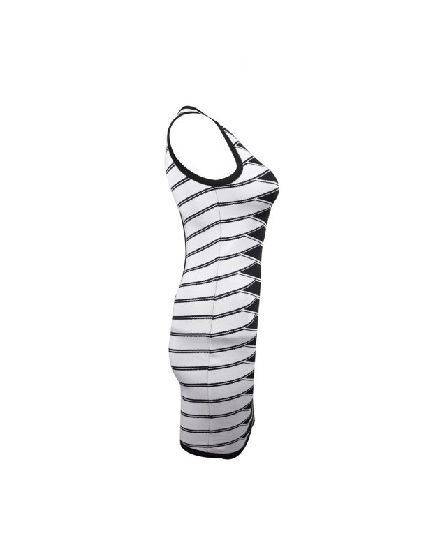 Sleeveless Body Fitted Dress With Horizontal Pattern