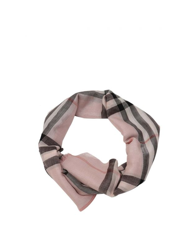 Ash Rose Metallic Check Silk and Wool Scarf
