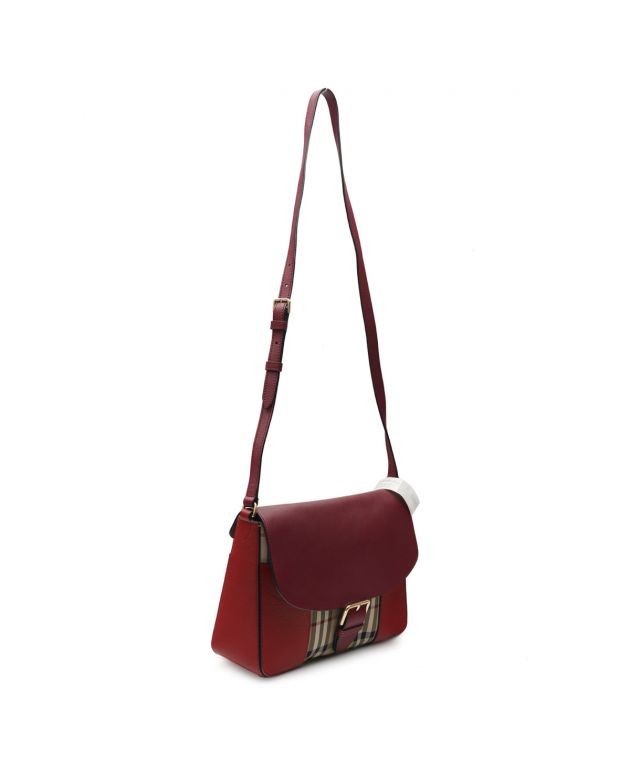 Maroon Nova Check Crossbody Bag