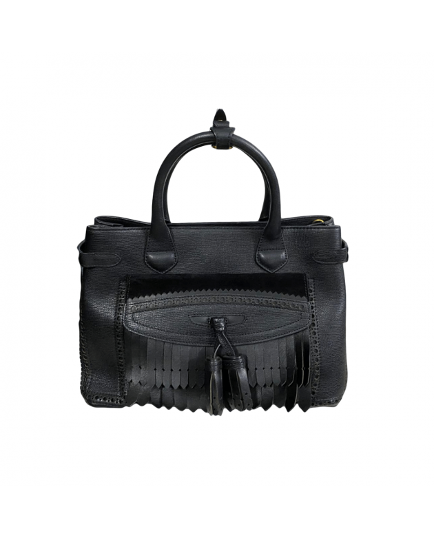 Leather Brogues Banner Fringe Tote