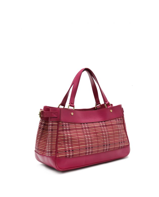 Rhubarb Pink Haymarket Stripes medium bag