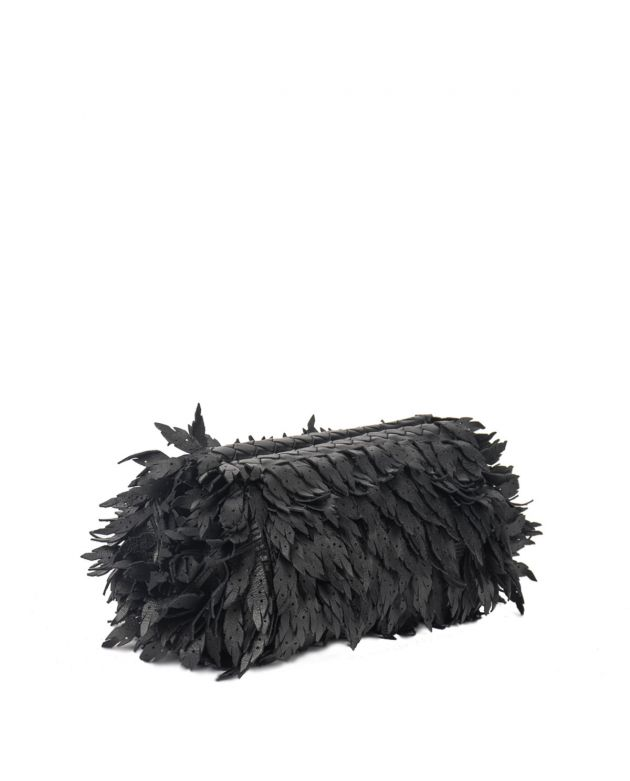 Limited Edition Nero leather leaves Fringe clutch