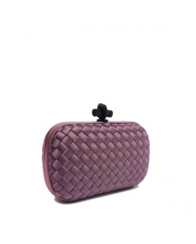 BLACK INTRECCIATO PURPLE SATIN KNOT CLUTCH