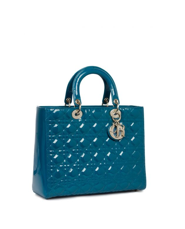 Lady Dior Deep Teal Patent Leather Bag