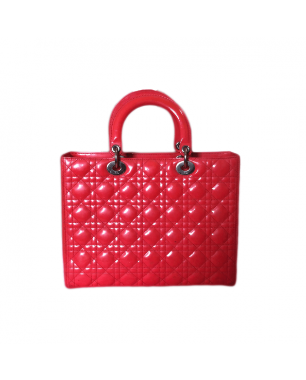 Lady Dior Cannage Quilted Red Patent Leather Large Tote Bag