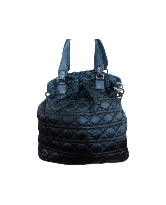 Black Cannage Quilted Large Nylon Bag