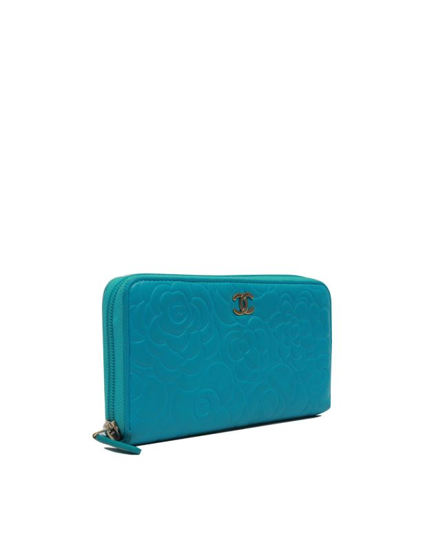 Blue Camellia Zip-around Wallet