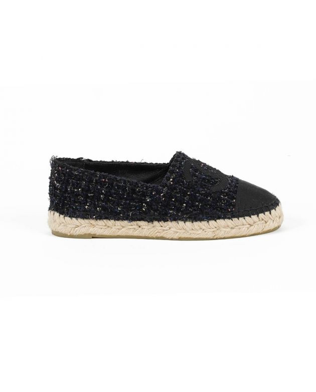 Espadrilles Sequin Tweed and Grosgrain Calfskin Leather Size - 35