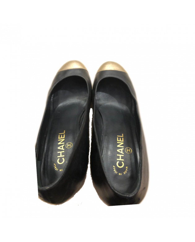 Black/Gold Leather Cap Toe Wedges Size - 41