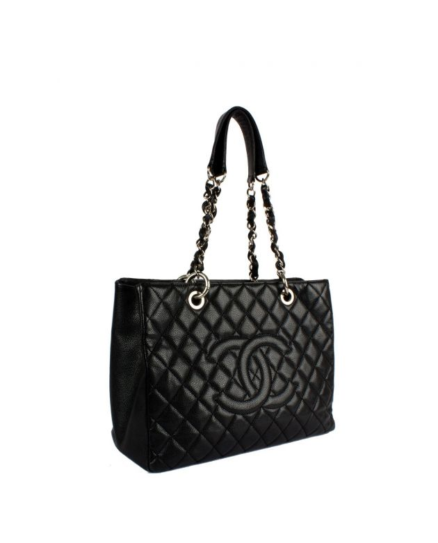 Shopping Grand Caviar Silver Hardware Black Leather Tote