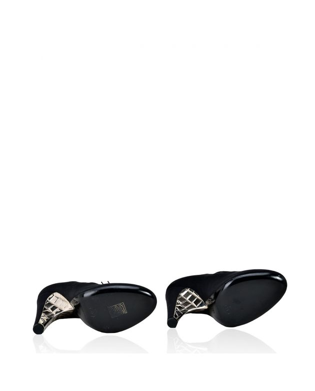 Chanel Black Crepe Strass Buckle EUR 38.5/UK 5