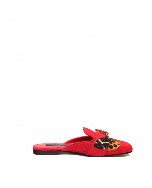 EXCLUSIVE WOMEN'S RED MULES WITH JEWEL BUCKLE SIZE 38