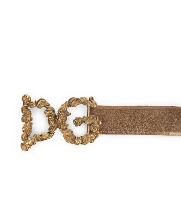 Dolce and Gabbana Gold Leather Baroque Logo Buckle
