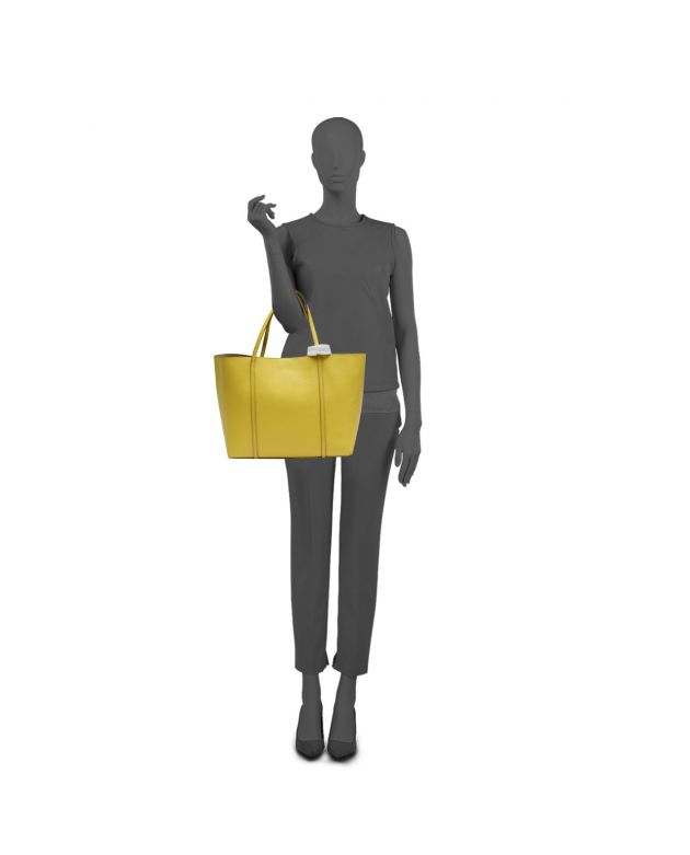 Dolce & Gabbana D & St. Mare Shopping Yellow Leather Tote Bag