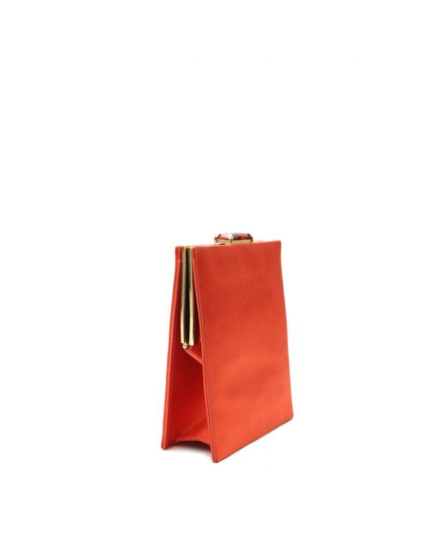 Tangy Red Satin Evening clutch