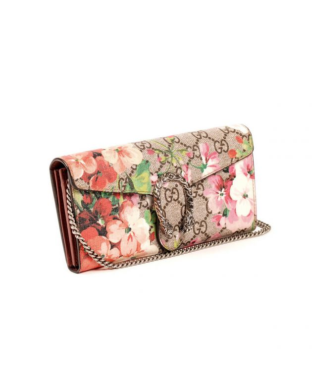 GG Supreme Canvas Dionysus Blooms Print Wallet on Chain