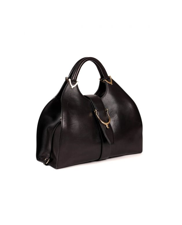 Stirrup Medium Black Leather Shoulder Bag