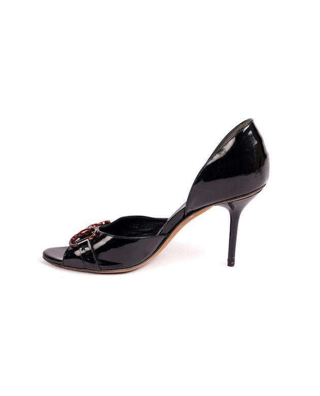 Black Patent Leather Horsebit Peep Toe Size 36.5