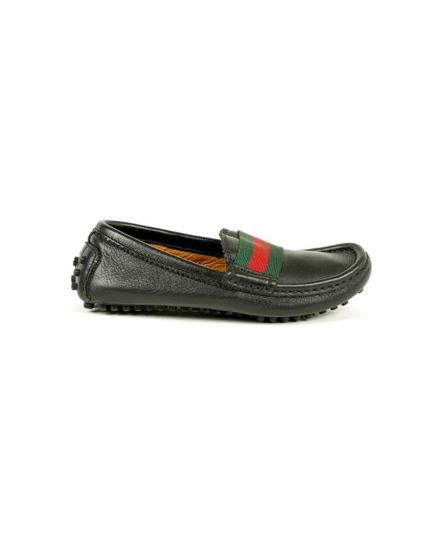 Kids Driver Black Loafers Pebble Sole Loafers Size - 28