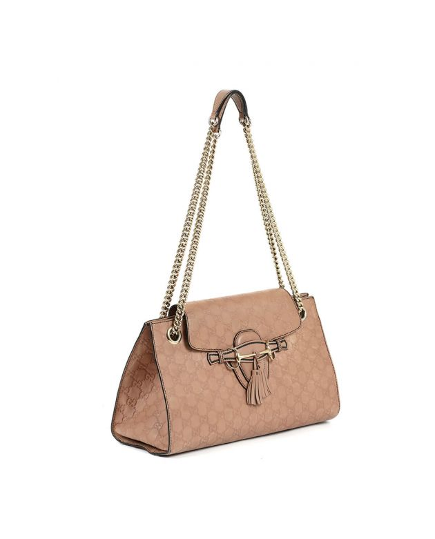 Emily Chain large Guccimma Leather Nude Pink Shoulder Bag