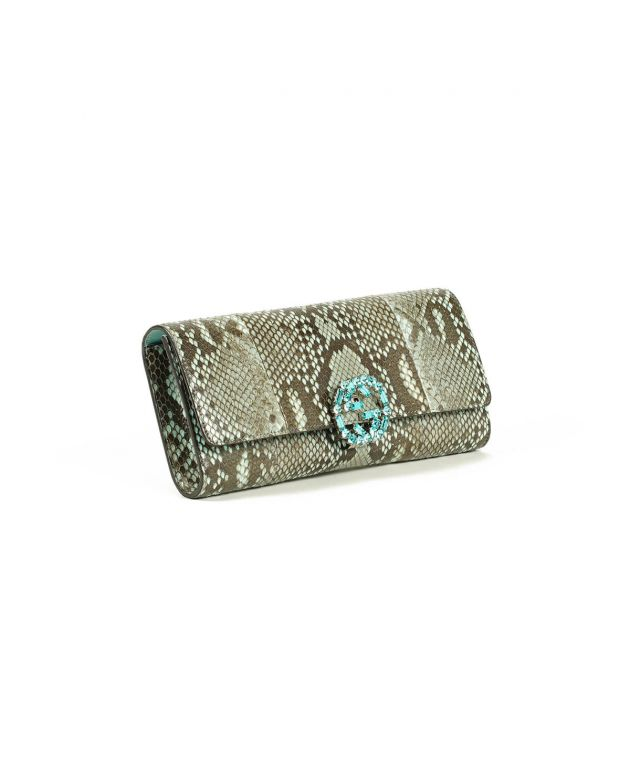 GG Crystal Embellished Broadway Python Print Evening Clutch
