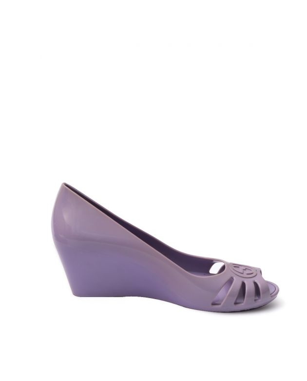 Womens Rubber GG Peep toes purple Wedges Size 36