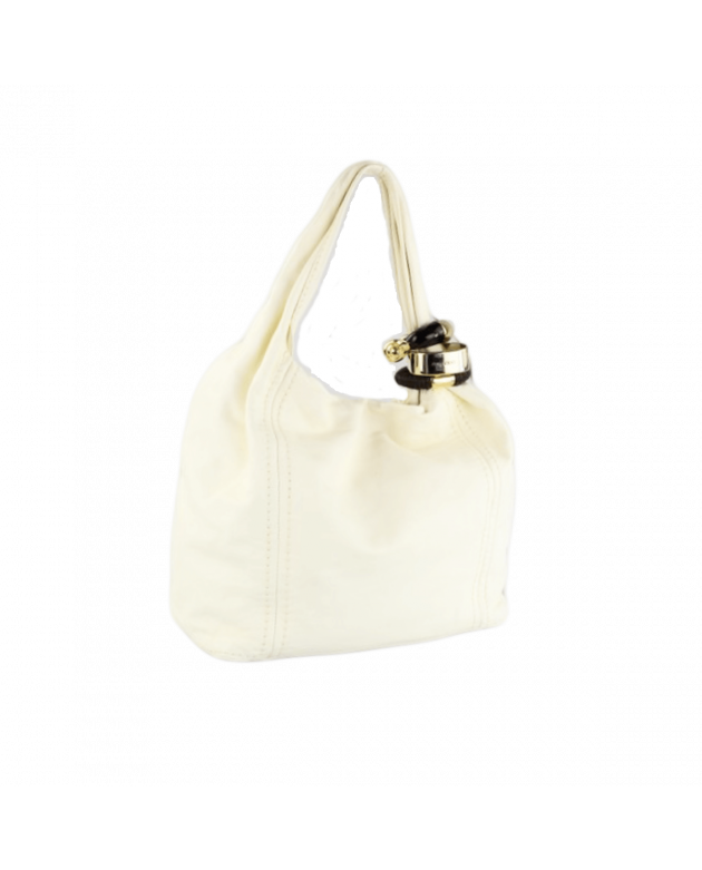 Jimmy Choo White Leather Saba Hobo Bag