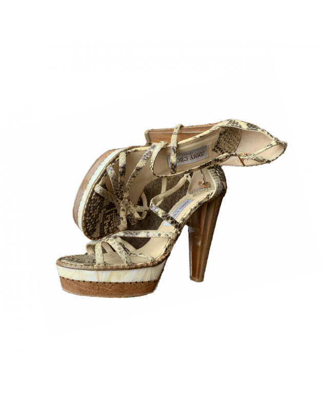 Brown Python Embossed Leather Open Toe Strappy Sandals Size - 40